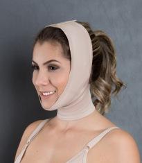Cod. 4008. QUEIXEIRA. Queixeira ou Prendedor de Mento é específica para uso no pós de cirurgias plásticas de face, orelha e pescoço e queimaduras. Possui regulagem com velcro na cabeça e pescoço.