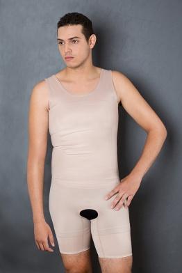Cod. 4041. MODELADOR MASCULINO COM PERNAS. Indicado para uso diário na modelagem da silhueta, no combate ás gorduras localizadas a médio prazo, pós cirurgia plástica, lipoaspiração e cirurgias em geral.