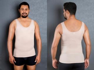 Cod. 4043. REGATA SLIM MASCULINA REFORÇADA. Indicada para uso diário na modelagem da silhueta, para evitar e amenizar dores na coluna e no combate de gorduras localizadas a médio prazo.